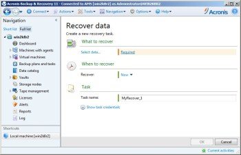 Solution for VMware, Acronis Backup and Recovery and DSS V6