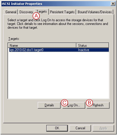 Connect to a DSS V6 iSCSI Target volume from a MS Windows - Configure iSCSI Target Properties - pic 10