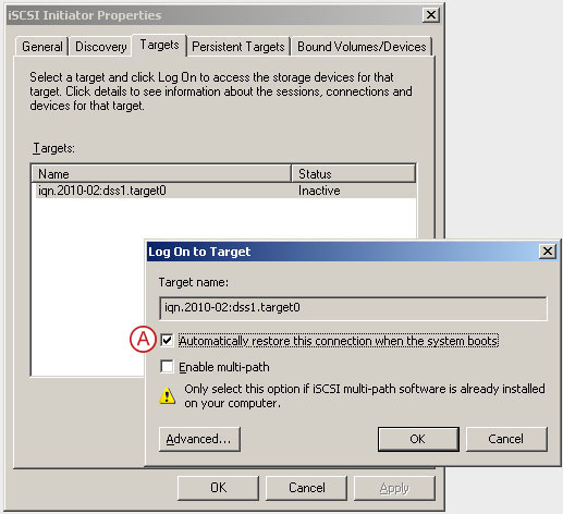 Connect to a DSS V6 iSCSI Target volume from a MS Windows - Configure iSCSI Target Properties - pic 11