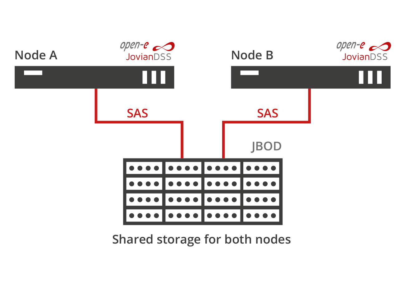 Standard High Availability SAS connected common storage
