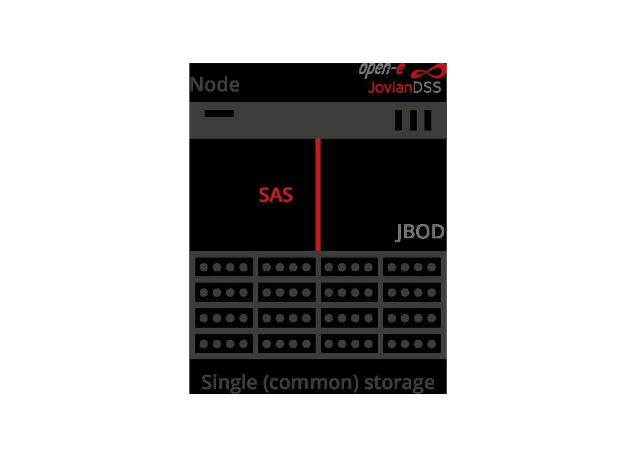 Single SAS connected storage
